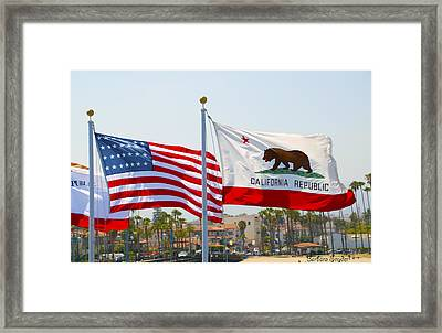 United States And California Flags Framed Print by Barbara Snyder