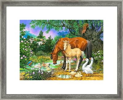 Foal And Mare By The Stream Variant 1 Framed Print by John Francis