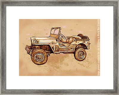 Us Army Jeep In World War 2 - Stylised Modern Drawing Art Sketch Framed Print by Kim Wang