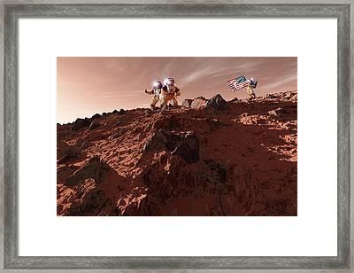 Us Astronauts On Mars Framed Print