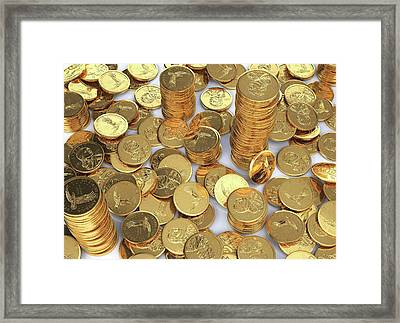 Us Dollar Coins Framed Print by Leonello Calvetti