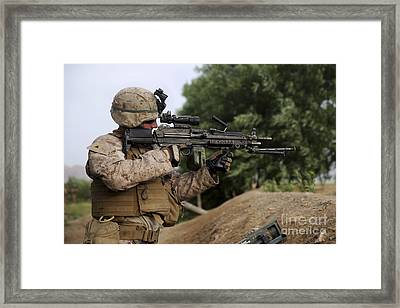 U.s. Marine Provides Security With An Framed Print