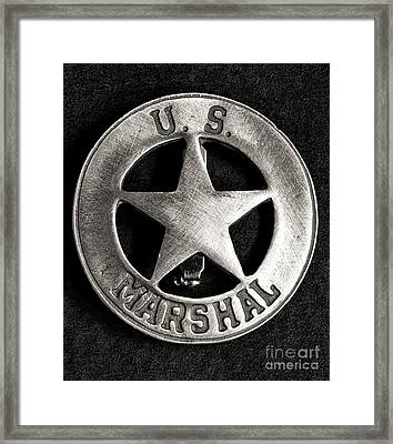 Us Marshall - Law Enforcement - Badge Framed Print by Paul Ward