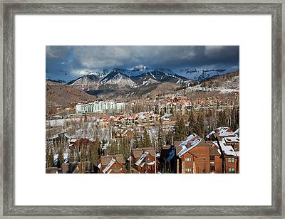 Usa, Colorado, Telluride, Elevated View Framed Print by Walter Bibikow