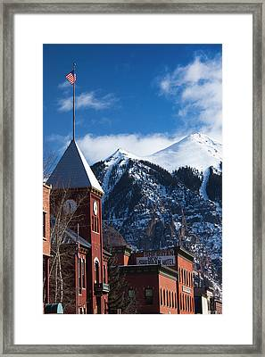 Usa, Colorado, Telluride, Main Street Framed Print by Walter Bibikow
