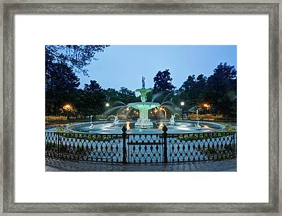 Usa, Ga, Savannah, Forsyth Park Framed Print by Rob Tilley
