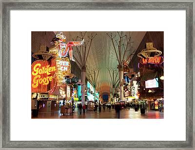 Usa, Nevada Fremont Street Experience Framed Print by Michael Defreitas