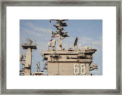 Uss Nimitz Arrives At Joint Base Pearl Framed Print