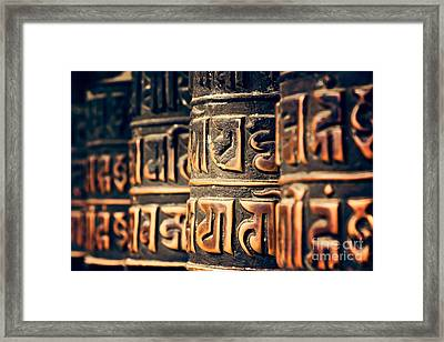 V2 Textures Buddha Is In The Details Framed Print by Neville Bulsara