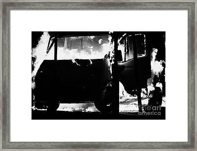 Van Burning As Roadblock During Loyalist Rioting And Violence North Belfast Northern Ireland Framed Print by Joe Fox