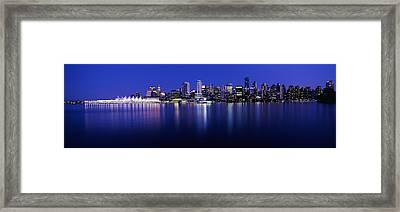 Vancouver Skyline At Night, British Framed Print