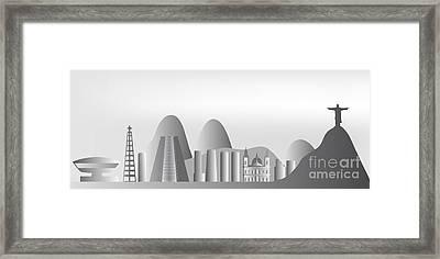 vector Rio de Janeiro skyline Framed Print by Michal Boubin