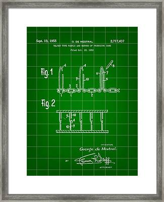 Velcro Patent 1952 - Green Framed Print by Stephen Younts