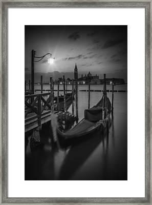 Venice Gondolas In Black And White Framed Print by Melanie Viola