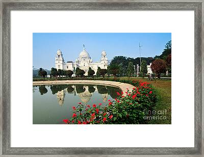 Victoria Memorial Kolkata India - Reflection On Water Framed Print