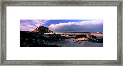 View Of Sand Dunes And The Morro Rock Framed Print