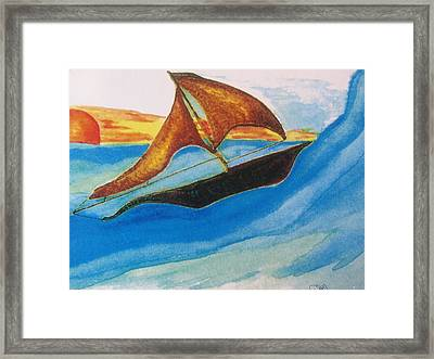 Viking Sailboat Framed Print by Debbie Nester