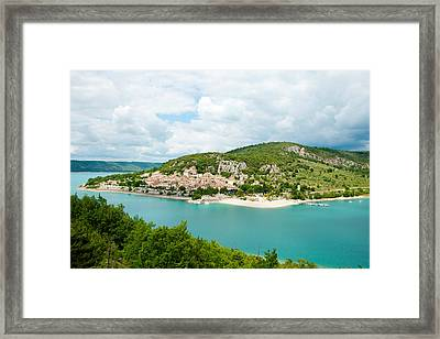 Village On A Hill At The Lakeside Framed Print by Panoramic Images