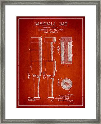 Vintage Baseball Bat Patent From 1919 Framed Print