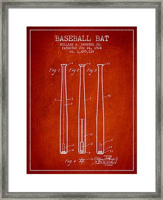 Vintage Baseball Bat Patent From 1924 Framed Print