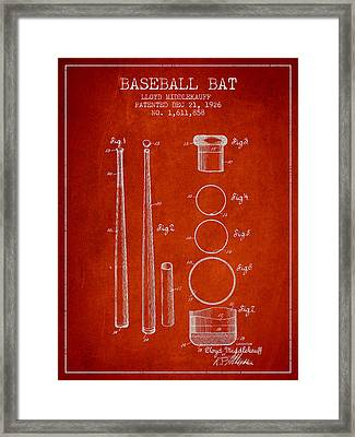 Vintage Baseball Bat Patent From 1926 Framed Print