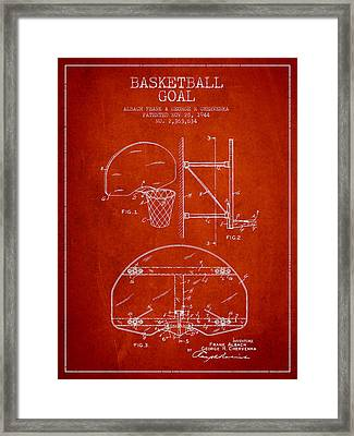 Vintage Basketball Goal Patent From 1944 Framed Print