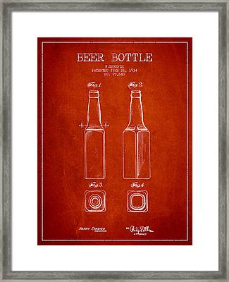 Vintage Beer Bottle Patent Drawing From 1934 - Red Framed Print by Aged Pixel