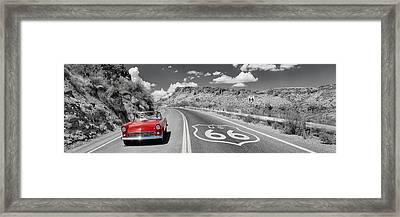 Vintage Car Moving On The Road, Route Framed Print by Panoramic Images