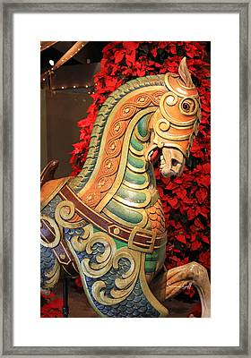 Vintage Carousel Horse Framed Print by Suzanne Gaff