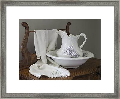 Vintage China Pitcher And Bowl Framed Print by MM Anderson