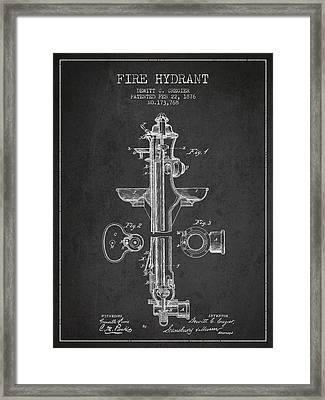 Vintage Fire Hydrant Patent From 1876 Framed Print by Aged Pixel