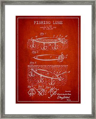Vintage Fishing Lure Patent Drawing From 1923 Framed Print by Aged Pixel