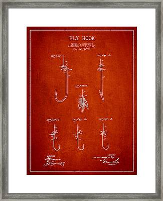 Vintage Fly Hook Patent Drawing From 1923 Framed Print