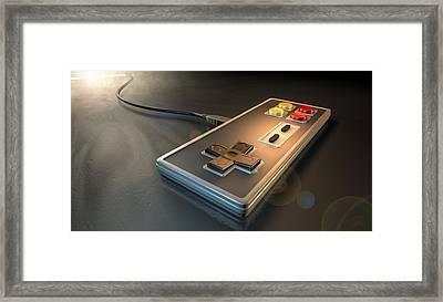 Vintage Gaming Controller Framed Print by Allan Swart
