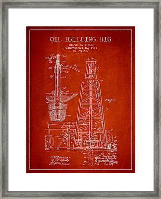 Vintage Oil Drilling Rig Patent From 1911 Framed Print