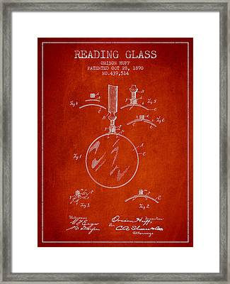 Vintage Reading Glass Patent From 1890 Framed Print by Aged Pixel
