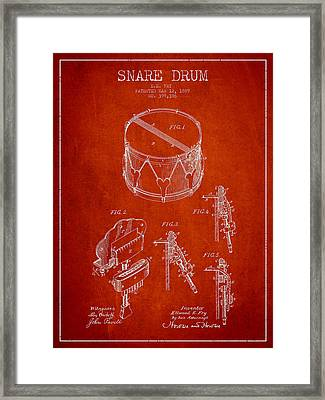 Vintage Snare Drum Patent Drawing From 1889 - Red Framed Print