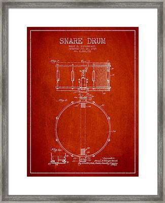 Snare Drum Patent Drawing From 1939 - Red Framed Print by Aged Pixel