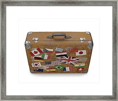 Vintage Suitcase With Stickers Framed Print