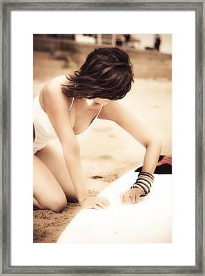 Vintage Surfing Framed Print