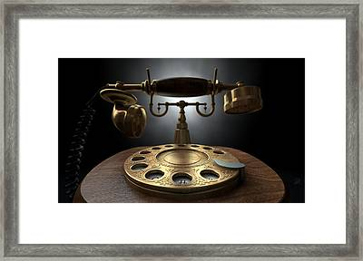 Vintage Telephone Dark Isolated Framed Print