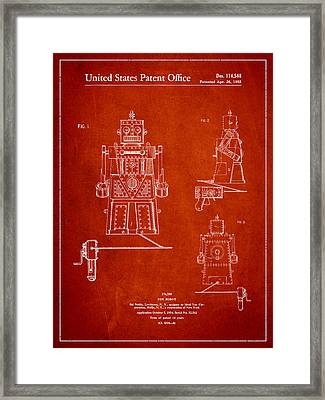 Vintage Toy Robot Patent Drawing From 1955 Framed Print