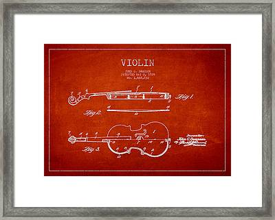 Vintage Violin Patent Drawing From 1928 Framed Print