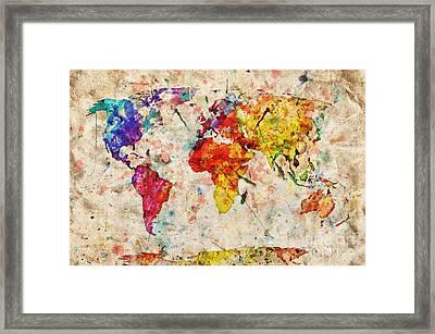 Vintage World Map Framed Print