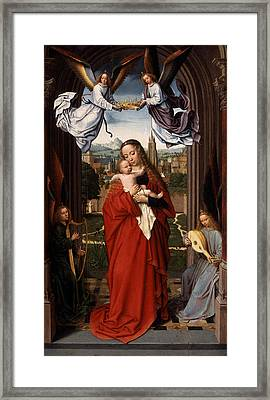 Virgin And Child With Four Angels Framed Print by Celestial Images