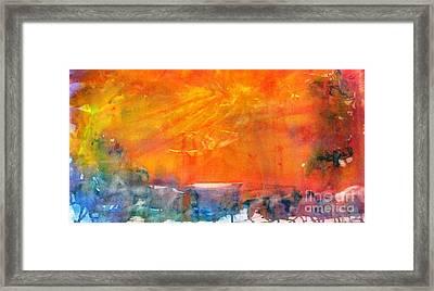 Wagon Train At Sunset Framed Print