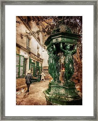 Framed Print featuring the photograph Wallace Fountain By Shakespeare And Co / Paris by Barry O Carroll