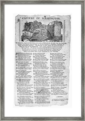War Of 1812 Broadside Framed Print by Granger