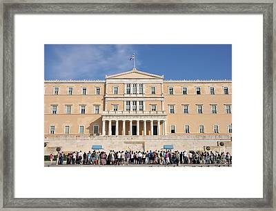 Watching The Change Of Guards Framed Print by George Atsametakis