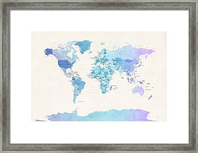 Watercolour Political Map Of The World Framed Print
